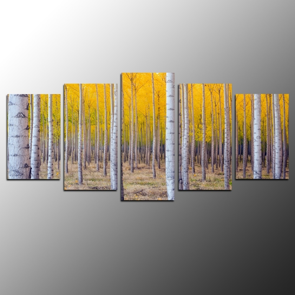 5pcs Birch Trees Printing Canvas Wall Art For Home Decoration With Best And Newest Birch Trees Canvas Wall Art (View 10 of 15)