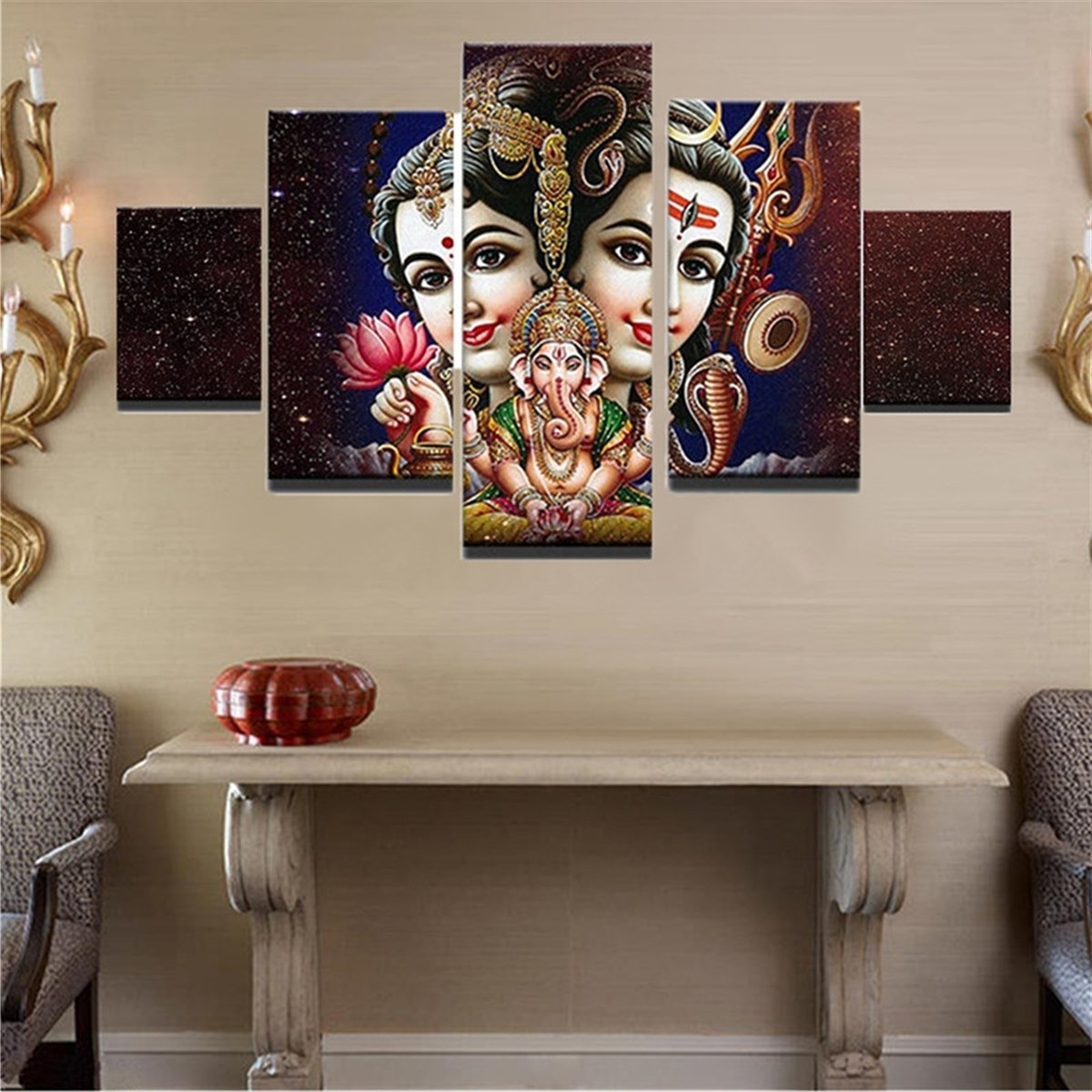 5Pcs Ganesha India Canvas Painting Print Modern Wall Art Poster In Trendy India Canvas Wall Art (View 3 of 15)