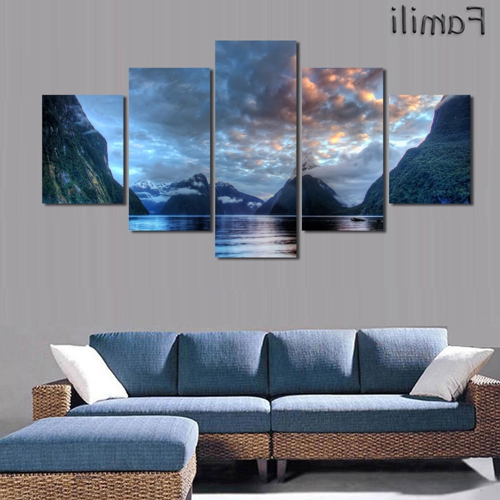 5Pcs/set Wall Art Painting New Zealand Blue Water Lake Mountain In Well Known New Zealand Canvas Wall Art (View 1 of 15)