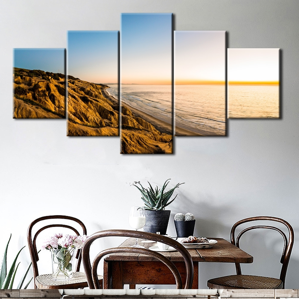 5Pcs The Gold Coast Printed Canvas Picture Oil Painting On Canvas In Well Known Gold Coast Canvas Wall Art (View 2 of 15)