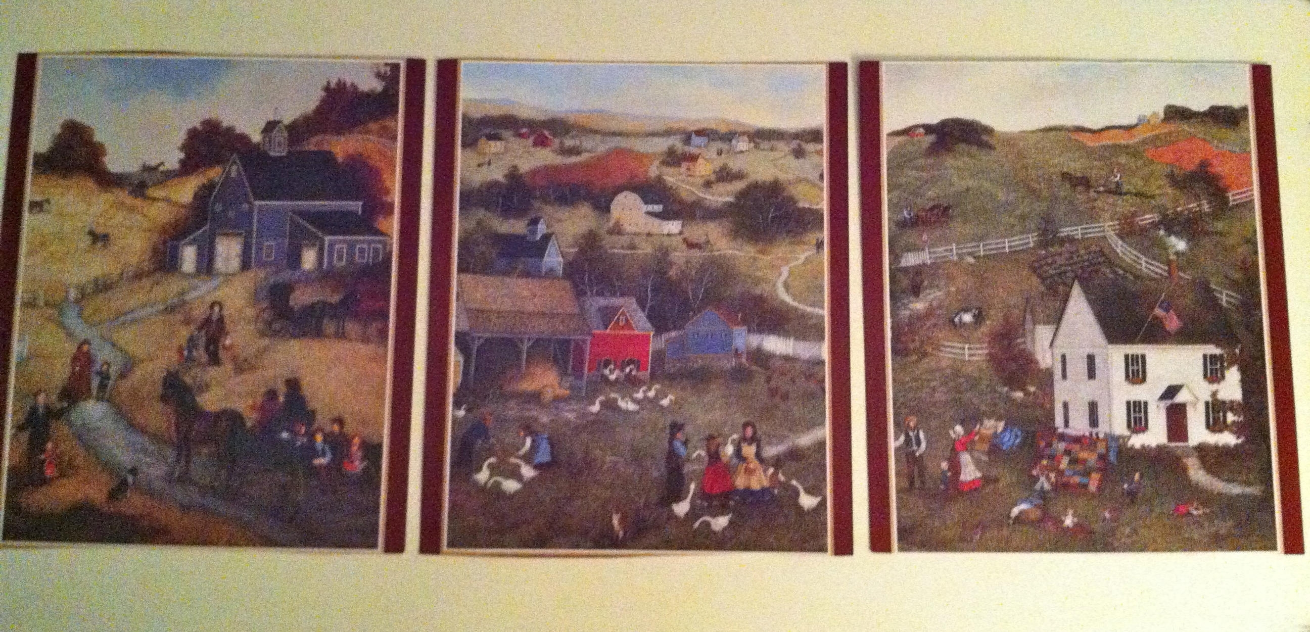 6 Prints Two Sided – Americana Primitive Art Prints/set Of Within Most Recent American Folk Art Framed Prints (View 1 of 15)