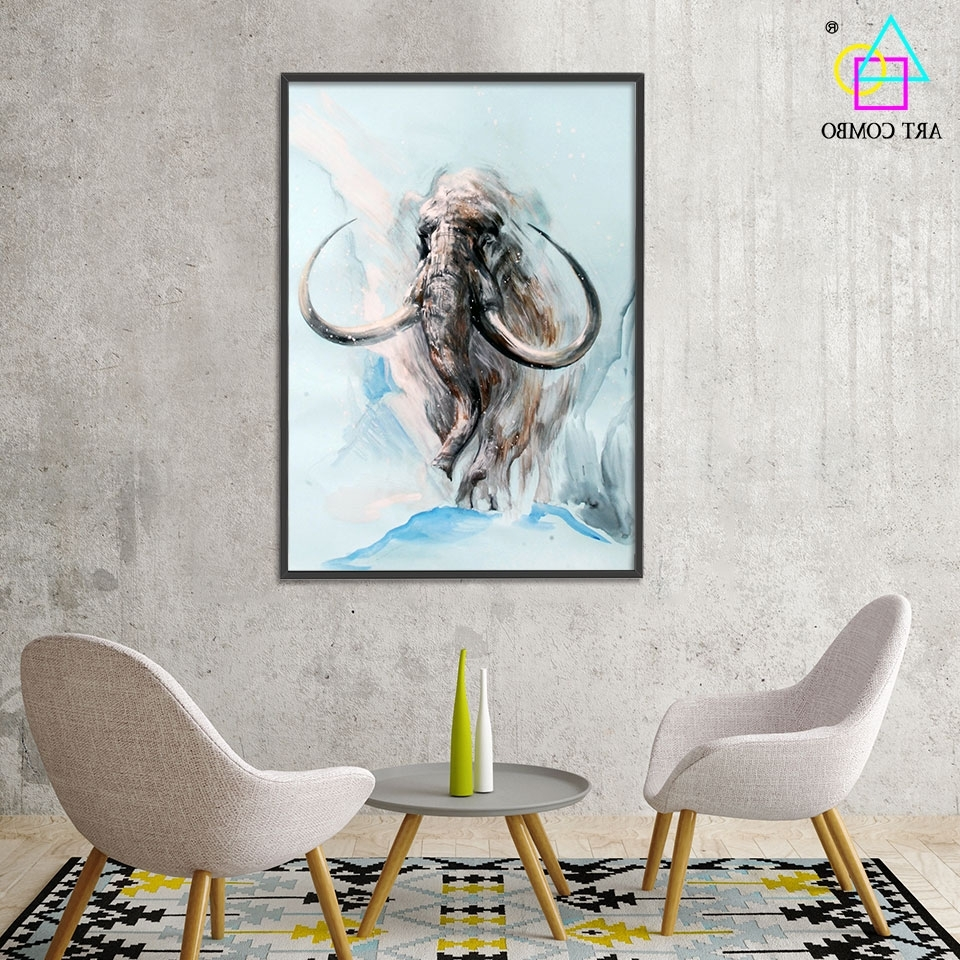 Abstract 3D Artwork Fabric Painting Animals Mammoth Drawing Home Intended For Recent Elephant Fabric Wall Art (Gallery 11 of 15)