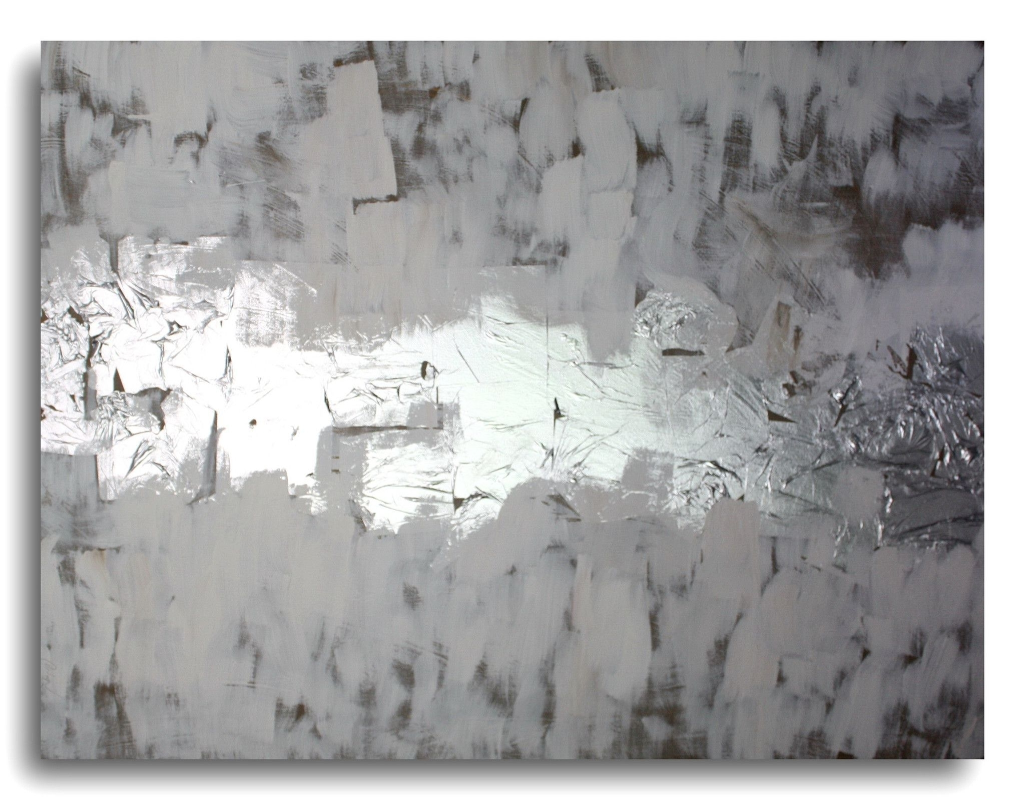 Abstract Art Canvas Painting Silver White Brown (View 2 of 15)