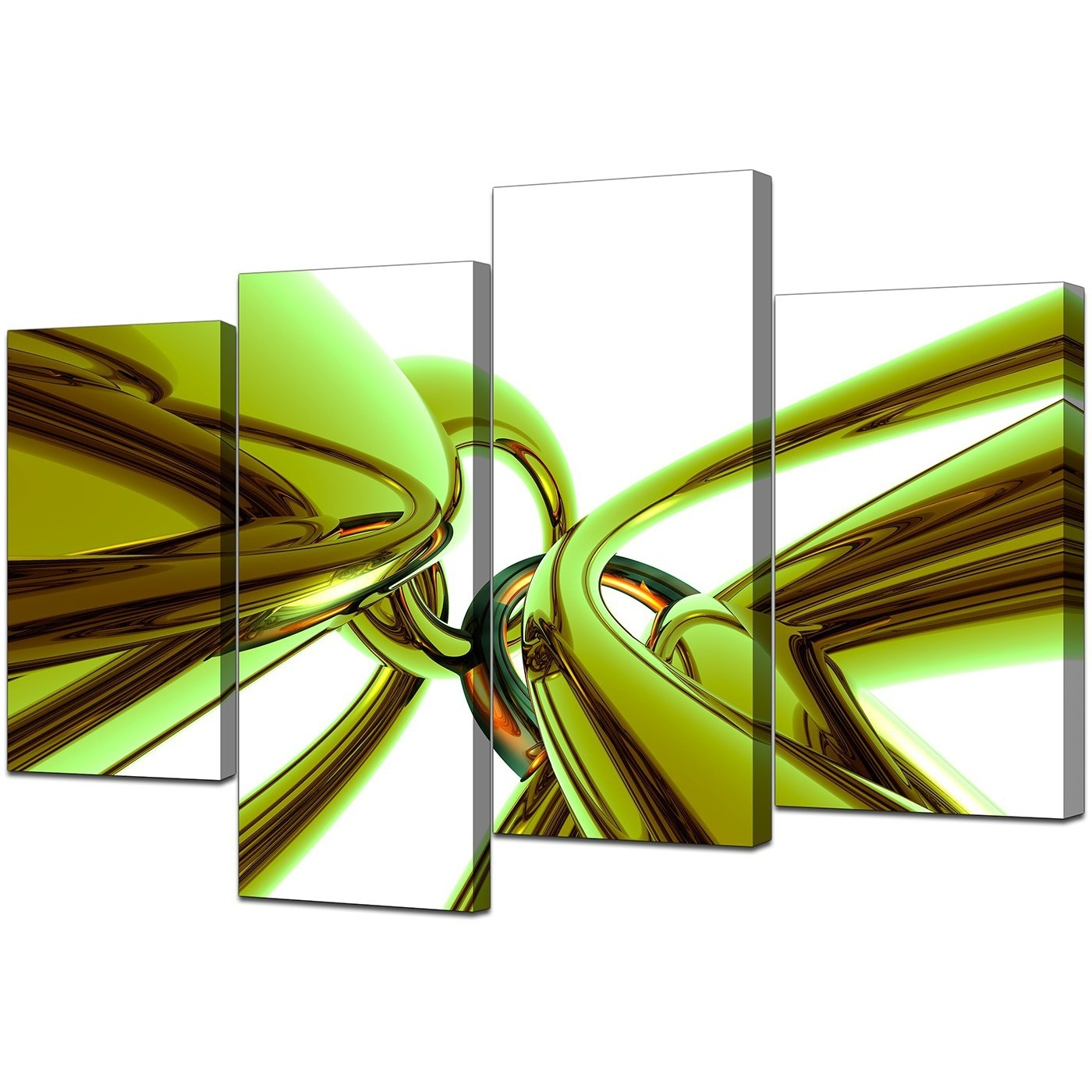 Abstract Canvas Wall Art In Green For Your Living Room – Set Of 4 Regarding 2018 Lime Green Canvas Wall Art (View 2 of 15)