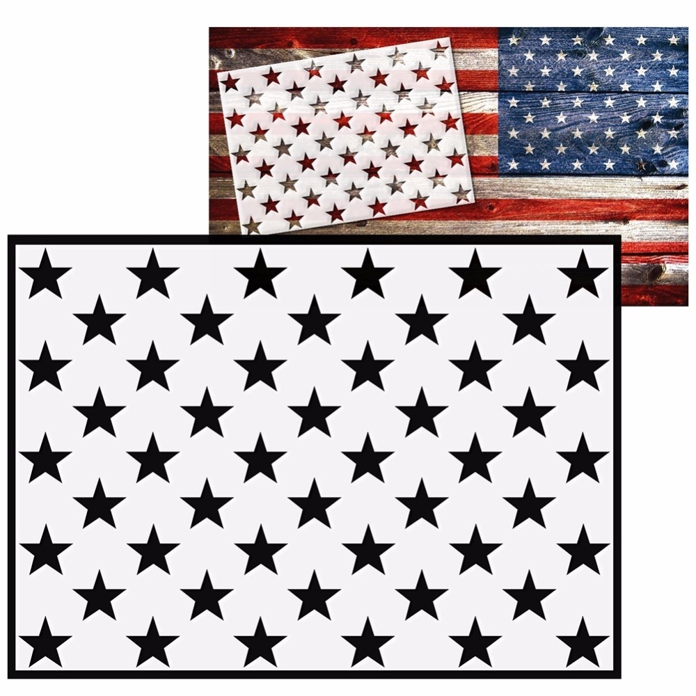Aliexpress : Buy Diy American Flag 50 Stars Stencil For In Famous American Flag Fabric Wall Art (View 1 of 15)