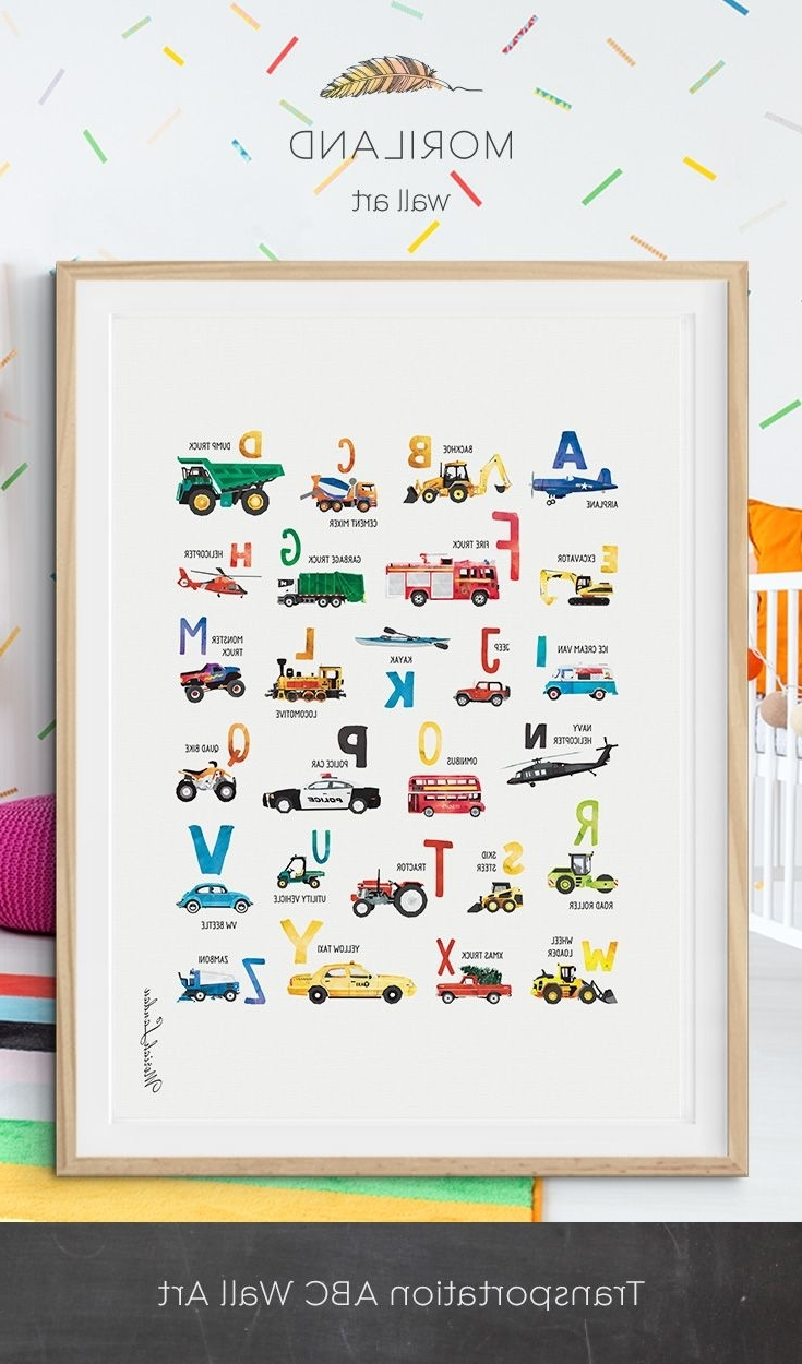 Alphabet Print, Transportation Alphabet Poster, Abc Poster Throughout Recent Cars Theme Canvas Wall Art (View 4 of 15)