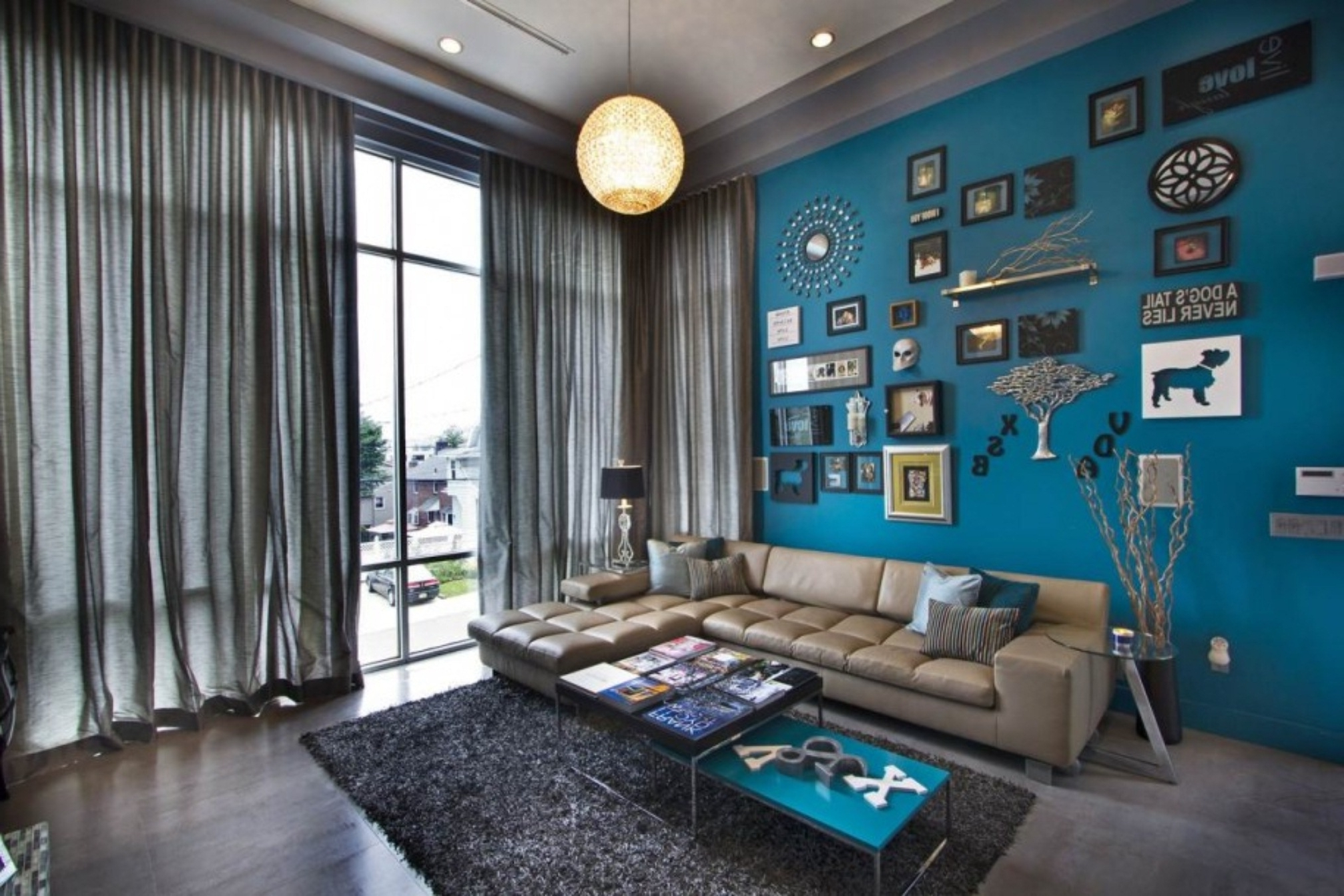 Amazing Of Awesome Blue Living Room Wall Color With L Sha #4013 Pertaining To Favorite Wall Accents For L Shaped Room (View 1 of 15)