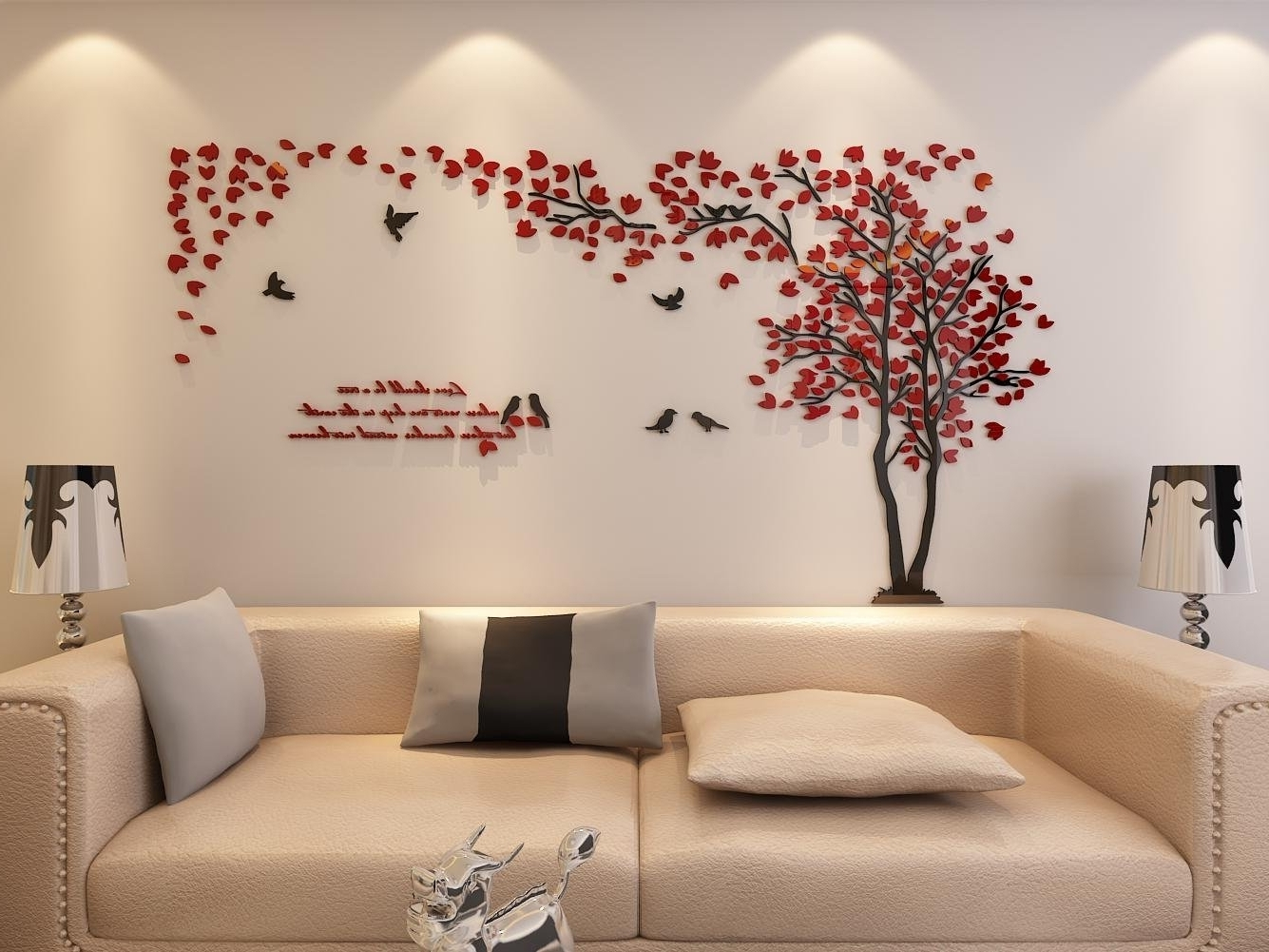 Amazon: 3D Couple Tree Wall Murals For Living Room Bedroom With Regard To Trendy Amazon Wall Accents (View 7 of 15)