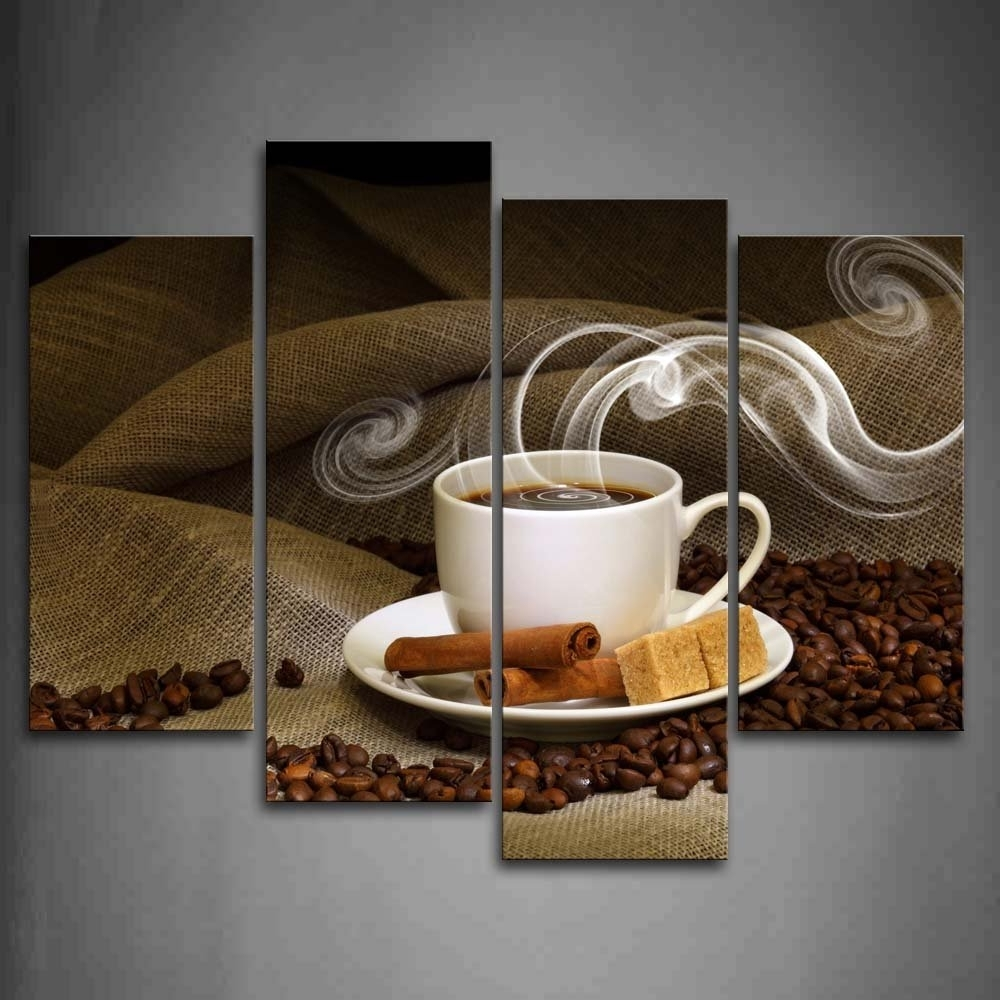 Amazon: Brown A Cup Of Coffee And Coffee Bean Wall Art For Well Known Coffee Canvas Wall Art (View 1 of 15)