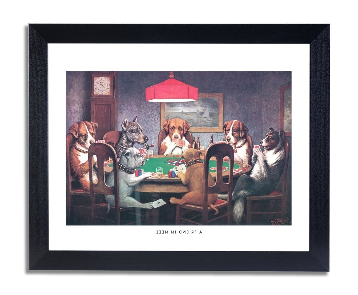 Amazon: Dogs Playing Poker At Table Animal Picture Black Pertaining To Favorite Dog Art Framed Prints (View 2 of 15)