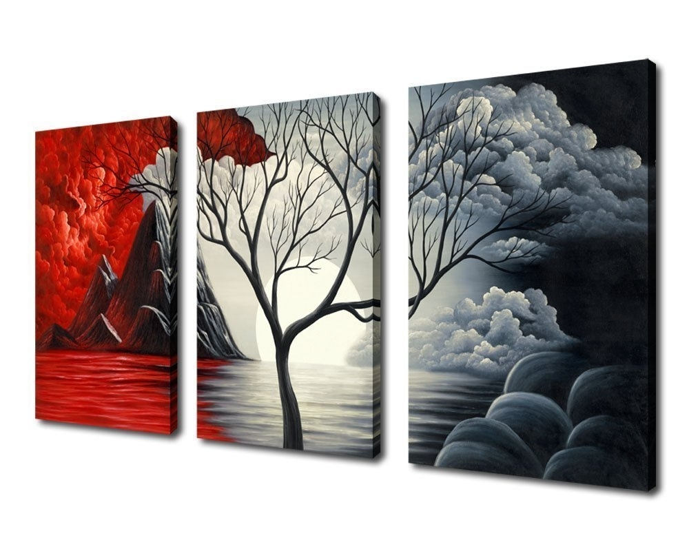 Amazon: Extra Large Cloud Tree Abstract Painting Canvas Prints Throughout Well Liked Large Red Canvas Wall Art (View 1 of 15)