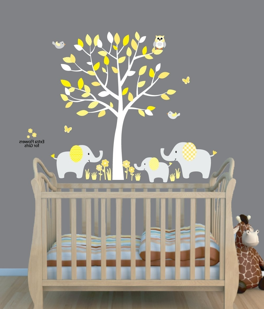 Amazon : Fabric Tree Stickers, Elephant Jungle Stickers Pertaining To Latest Fabric Tree Wall Art (View 1 of 15)
