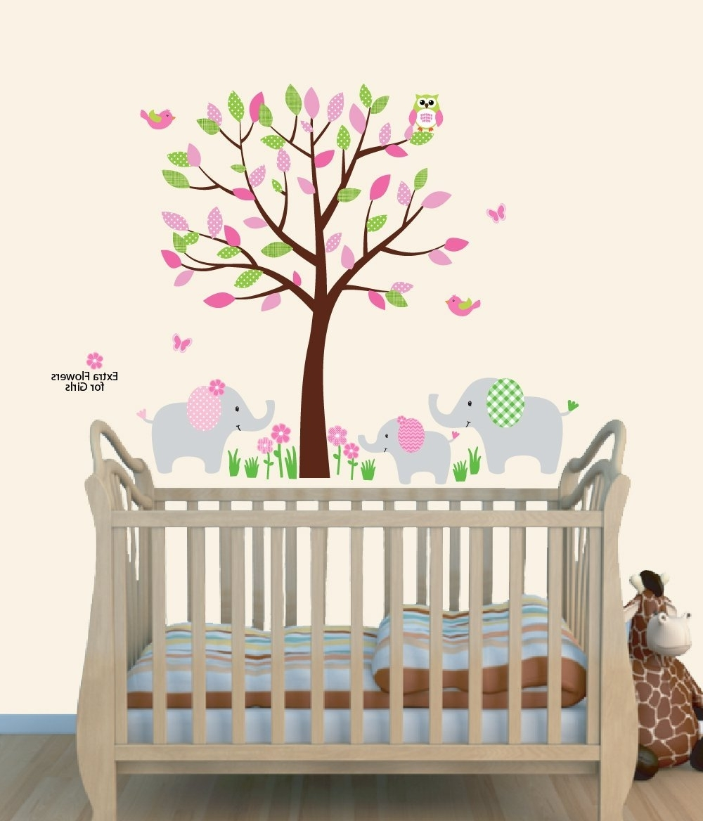 Amazon : Fabric Tree Wall Decals, Animal Mural For Nursery Throughout Most Recently Released Fabric Tree Wall Art (View 2 of 15)