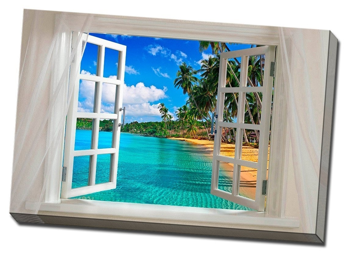 Amazon: Glimpse Into The Beach Canvas Wall Art: Prints Intended For Current Beach Canvas Wall Art (View 3 of 15)