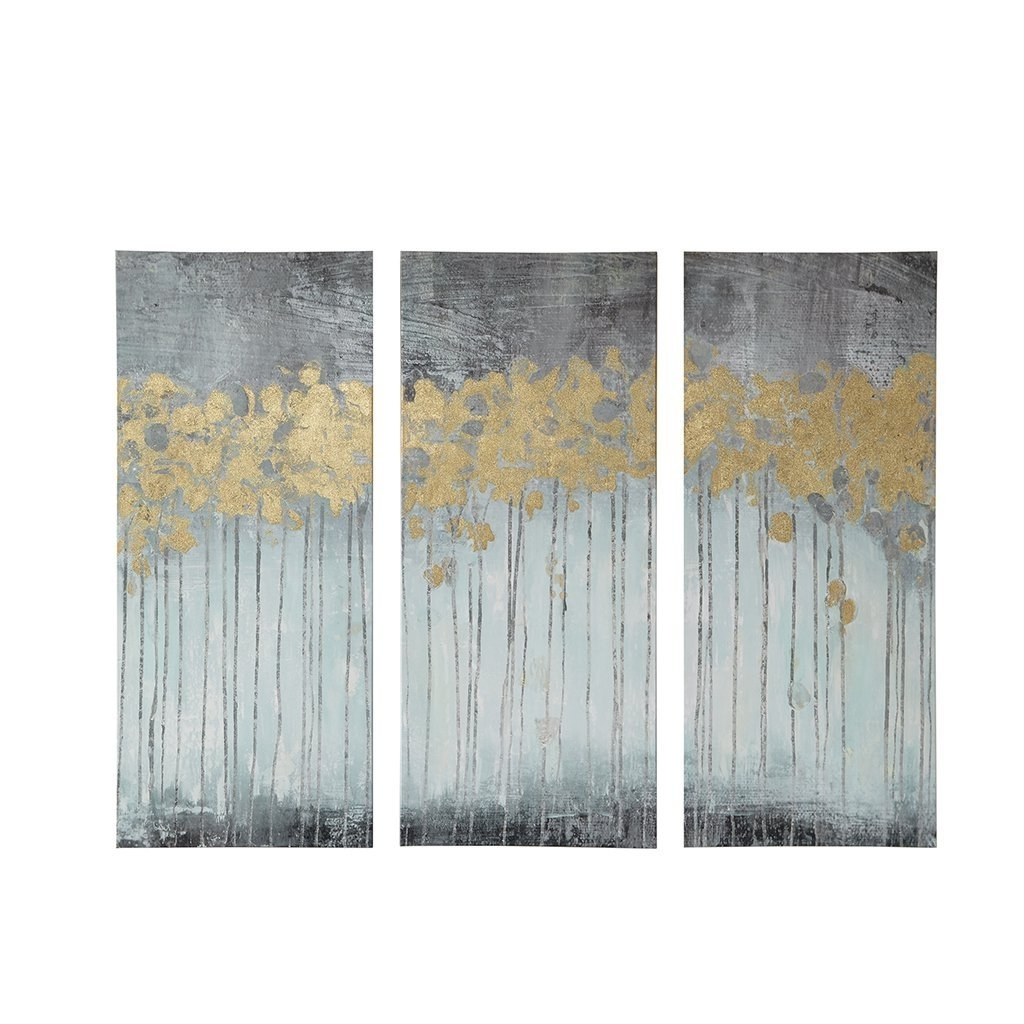 Amazon: Grey Forest Gel Coat Canvas 3 Piece Set Grey: Wall Art Intended For Widely Used Gold Canvas Wall Art (View 2 of 15)