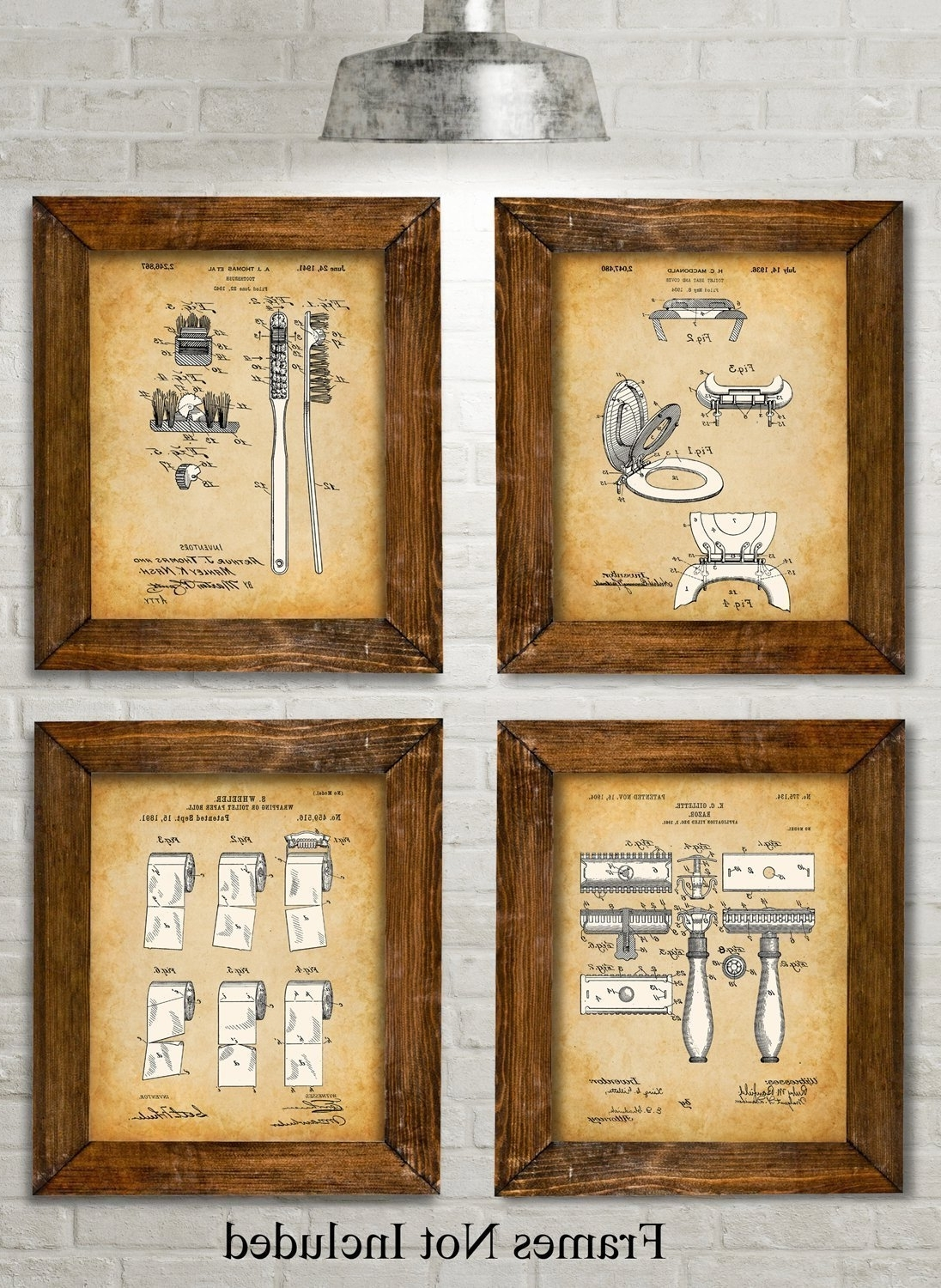 Amazon: Original Bathroom Patent Art Prints – Set Of Four Within Fashionable Vintage Bath Framed Art Prints Set Of 3 (Gallery 1 of 15)
