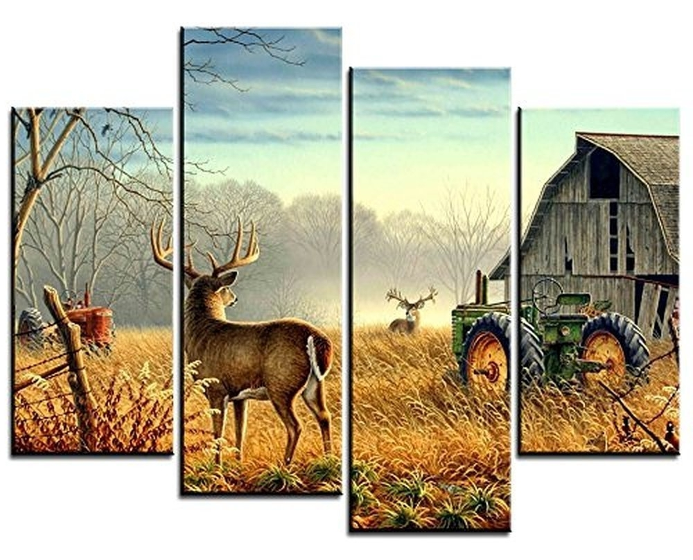 Amazon: Oyeo Canvas Art – 4 Sets Pictures Of Nature Trees Intended For 2018 Deer Canvas Wall Art (Gallery 14 of 15)