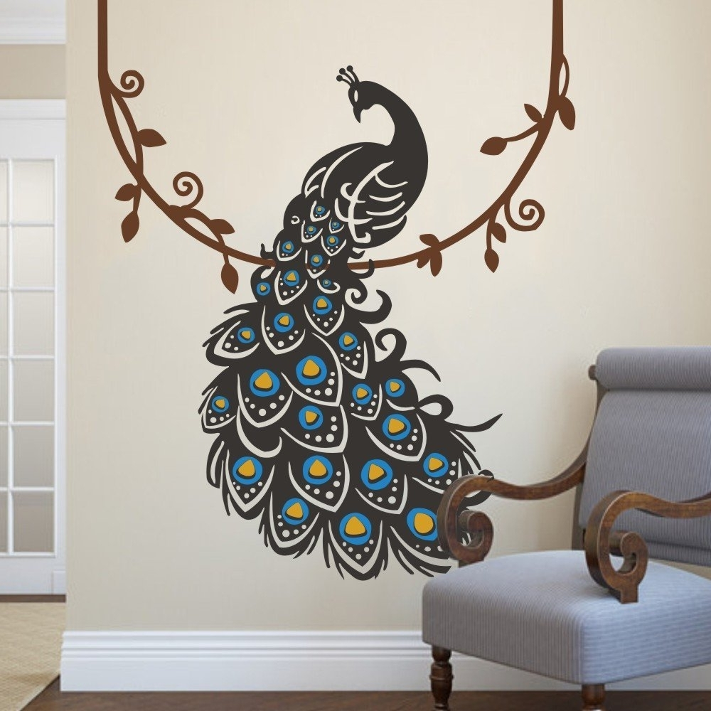 Amazon: Peacock Wall Decal Peafowl Wall Sticker Animal Wall With Famous Amazon Wall Accents (Gallery 9 of 15)