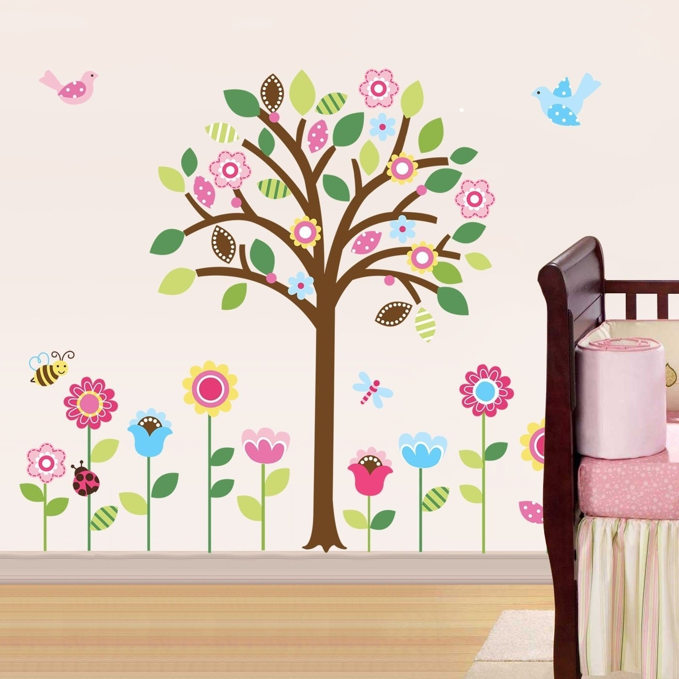 Amazon: Pretty Pastel Garden Giant Peel & Stick Wall Art Inside Latest Fabric Wall Art Stickers (View 2 of 15)