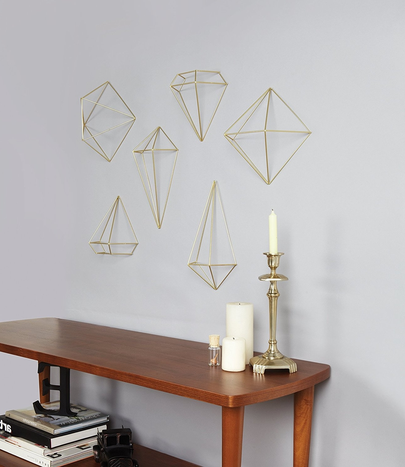 Amazon: Umbra Prisma Decorative Accents, Set Of 6, Brass: Home With Regard To Famous Geometric Shapes Wall Accents (View 4 of 15)