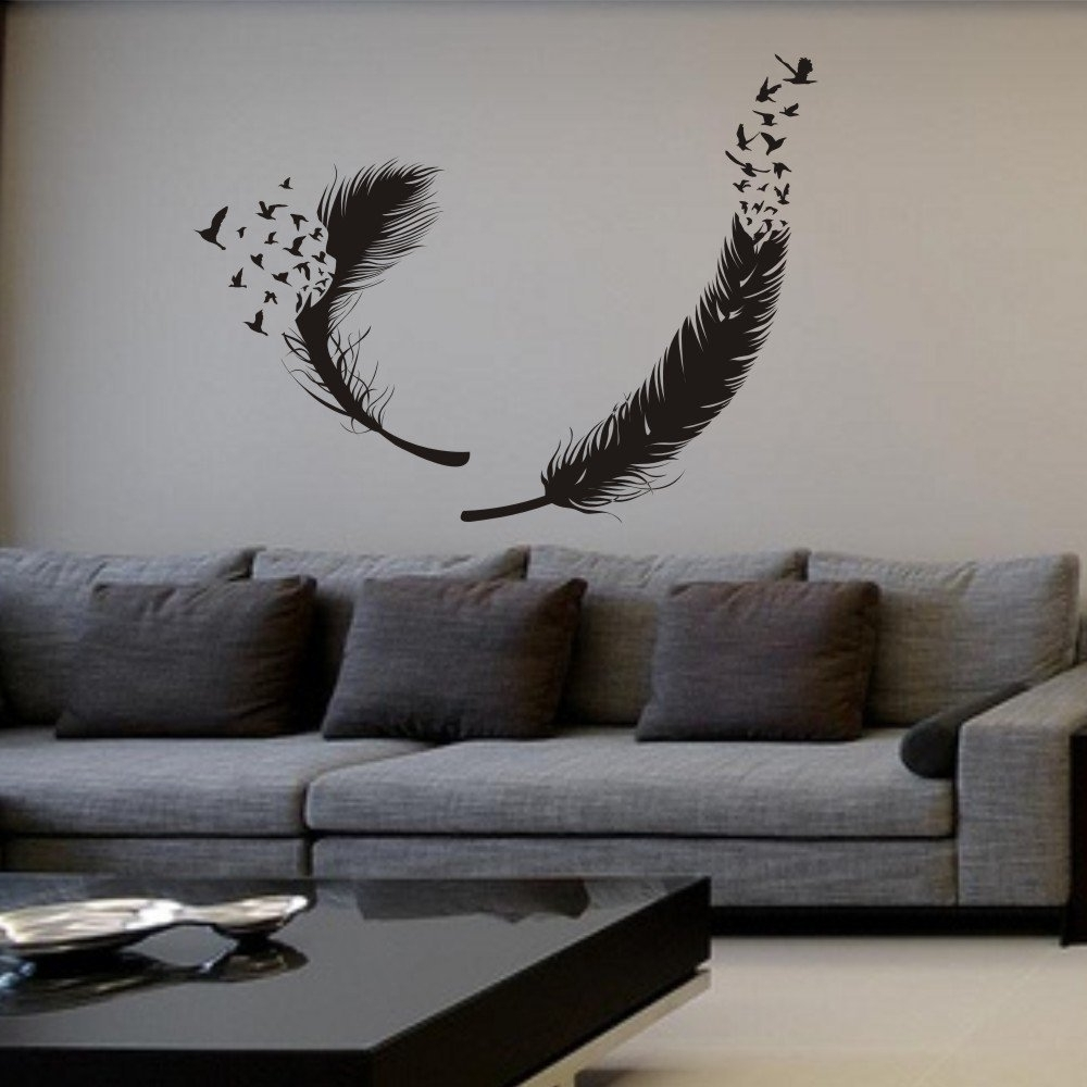 Amazon Wall Accents Intended For Most Recently Released Amazon: Mairgwall Birds Of A Feather Wall Decal Feather Wall (View 2 of 15)