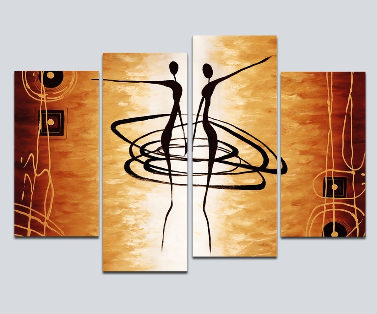 Amazon: Wieco Art – Large 4 Piece Modern Stretched And Framed Intended For Current Dance Canvas Wall Art (View 2 of 15)