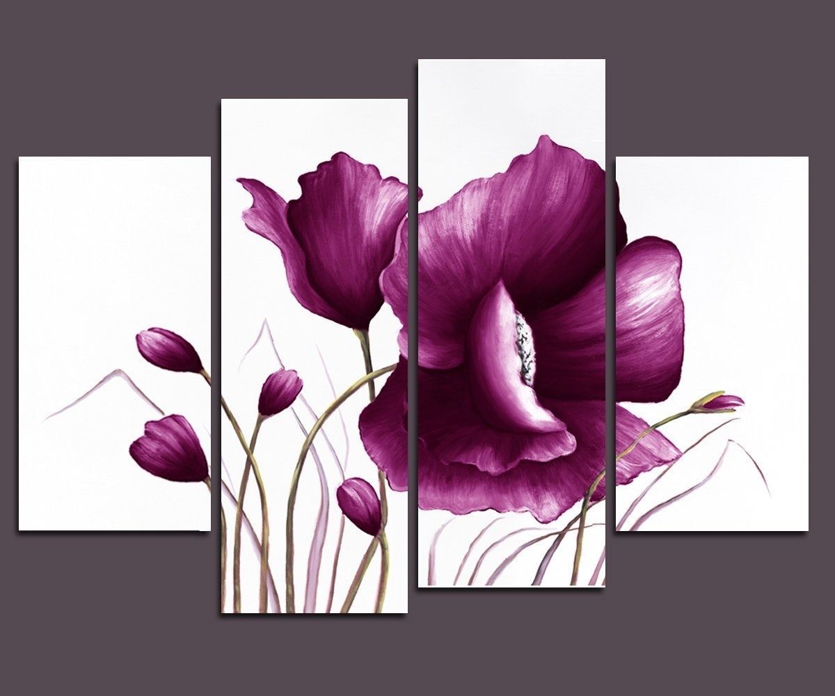 Amazon: Wieco Art – Large Purple Plum Flowers Modern Wrapped Within Most Current Purple Flowers Canvas Wall Art (Gallery 14 of 15)