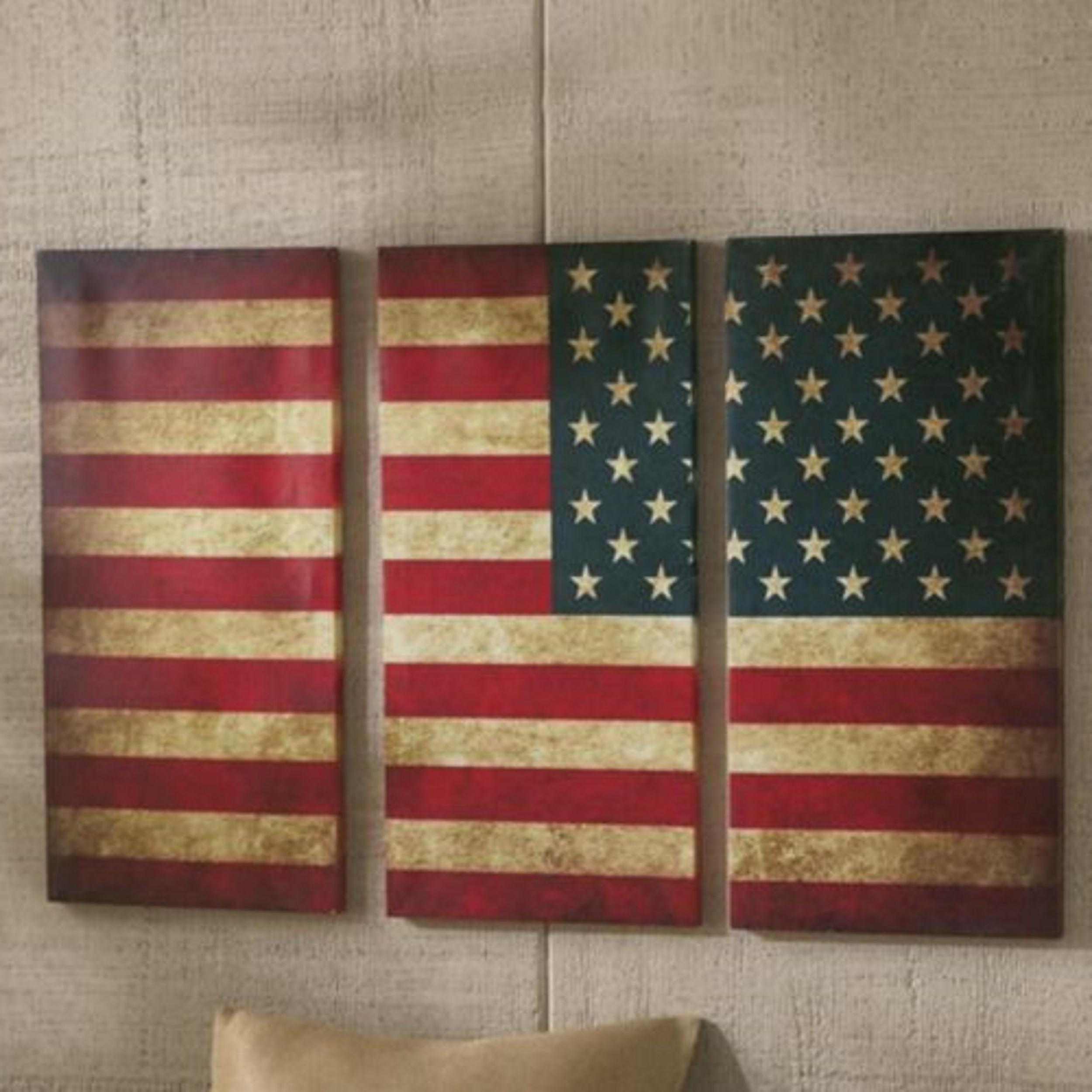 American Flag Fabric Wall Art Intended For Trendy Wall Decor : 3 Piece Paintings Wrought Iron Wall Decor Canvas Art (View 3 of 15)