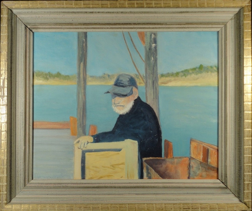 American Folk Art Framed Prints Throughout Recent Vintage Oil Painting American Folk Art Original Portrait Fisherman (View 4 of 15)
