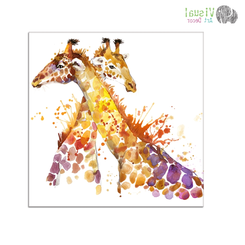 Animal Oil Painting Prints Giraffe Picture Prints Hd One Piece For Throughout Newest Giraffe Canvas Wall Art (View 2 of 15)