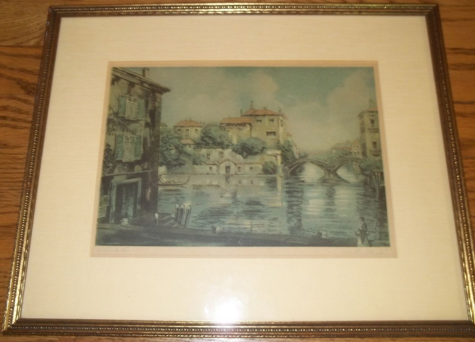 Antique Framed Art Prints Throughout Trendy Vintage, Framed Reproduction Print 'on The Thames'claude (View 3 of 15)