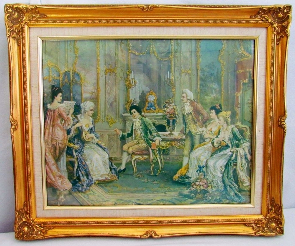 Antique Victorian Art Lithograph Hans Pinggera Gold Frame Signed Within Most Popular Antique Framed Art Prints (View 4 of 15)