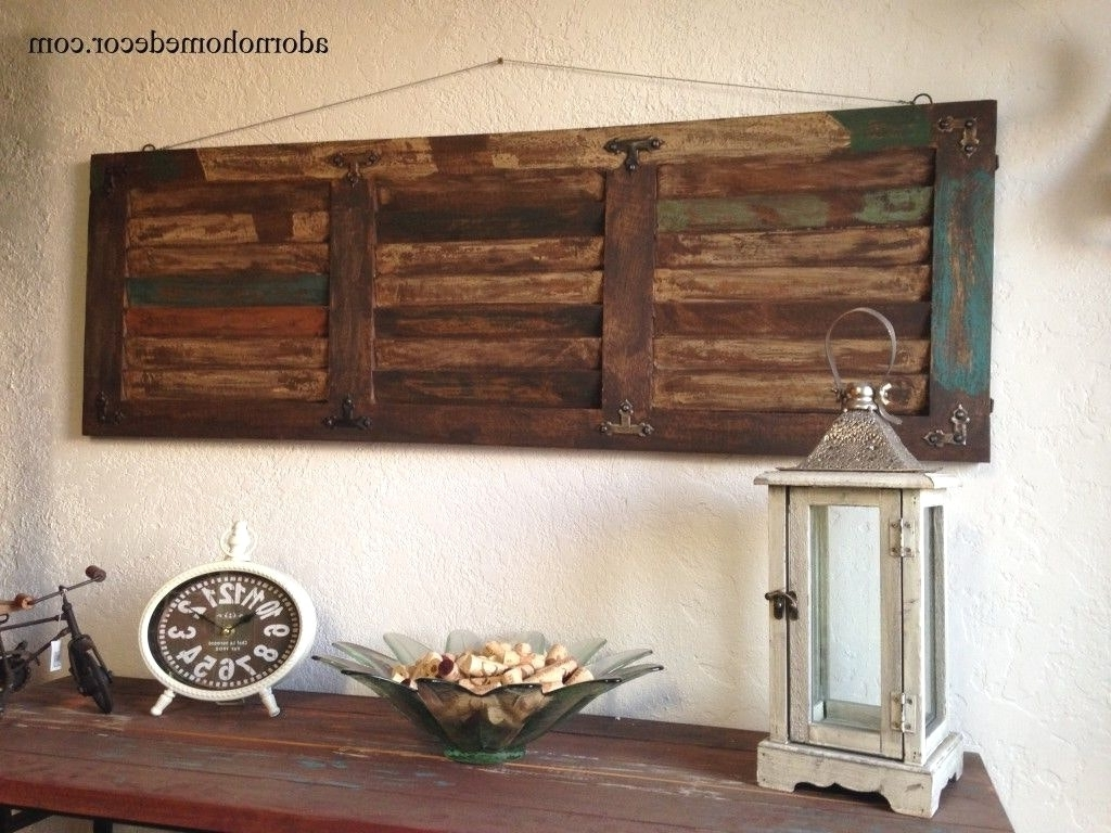 Antique Wall Accents Pertaining To Most Up To Date Wood Panel Wall Decor Latest Gallery Rustic Distressed Shutter (View 9 of 15)
