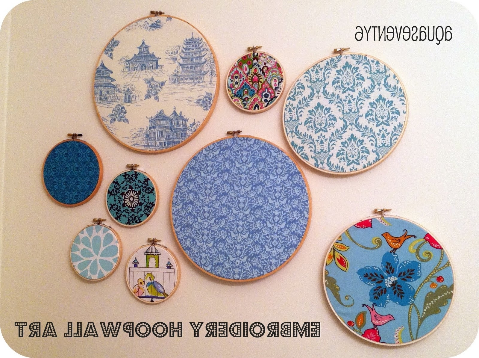 Aqua Seventy6: Embroidery Hoop Wall Art Pertaining To Popular Fabric Hoop Wall Art (Gallery 4 of 15)