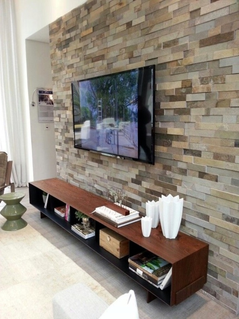 Architecture. Tv Accent Wall – Telano With Regard To Most Recent Wall Accents Behind Tv Or Couch (Gallery 15 of 15)
