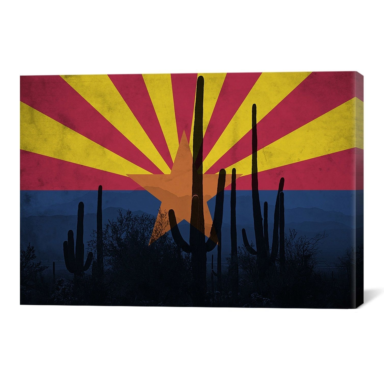 Arizona Flag, Cactus Grunge Graphic Art On Canvas (View 5 of 15)