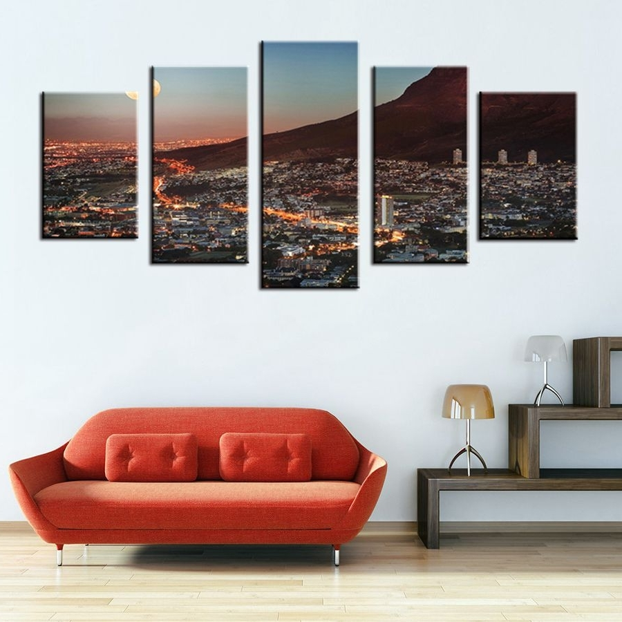 Art Gallery Painting Cape Town Mountain With Moon South Africa Within Most Recent Cape Town Canvas Wall Art (View 3 of 15)