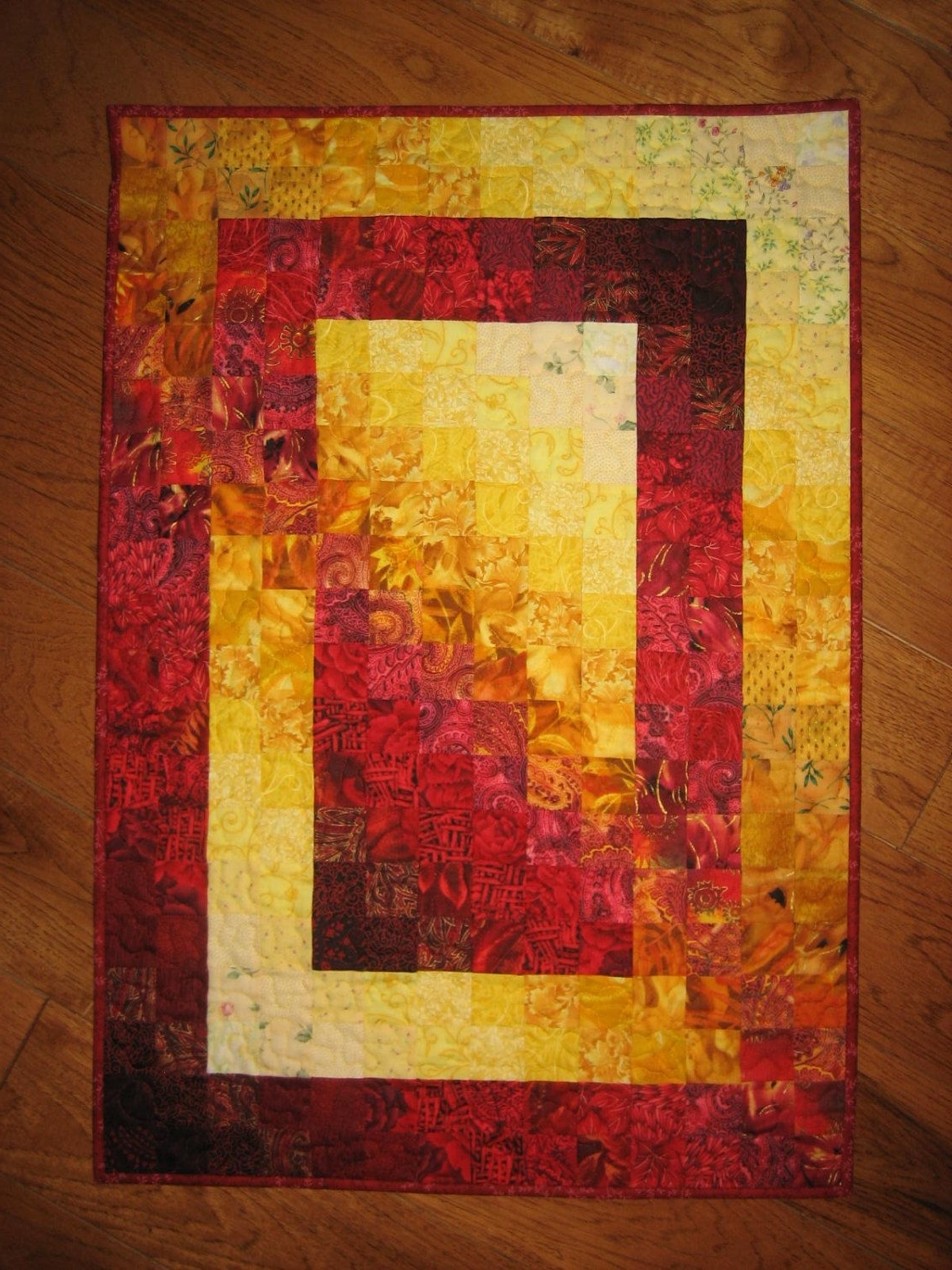 Art Quilt, Fire Red Yellow Orange Fabric Wall Hanging Abstract With Most Popular Batik Fabric Wall Art (View 2 of 15)