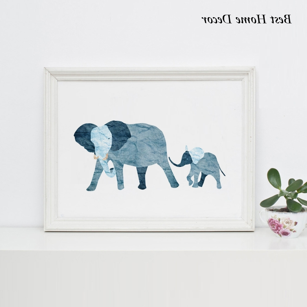 Baby Blue Elephant Art Print Nursery Art Blue Baby Elephant Family Within Famous Framed Animal Art Prints (View 3 of 15)