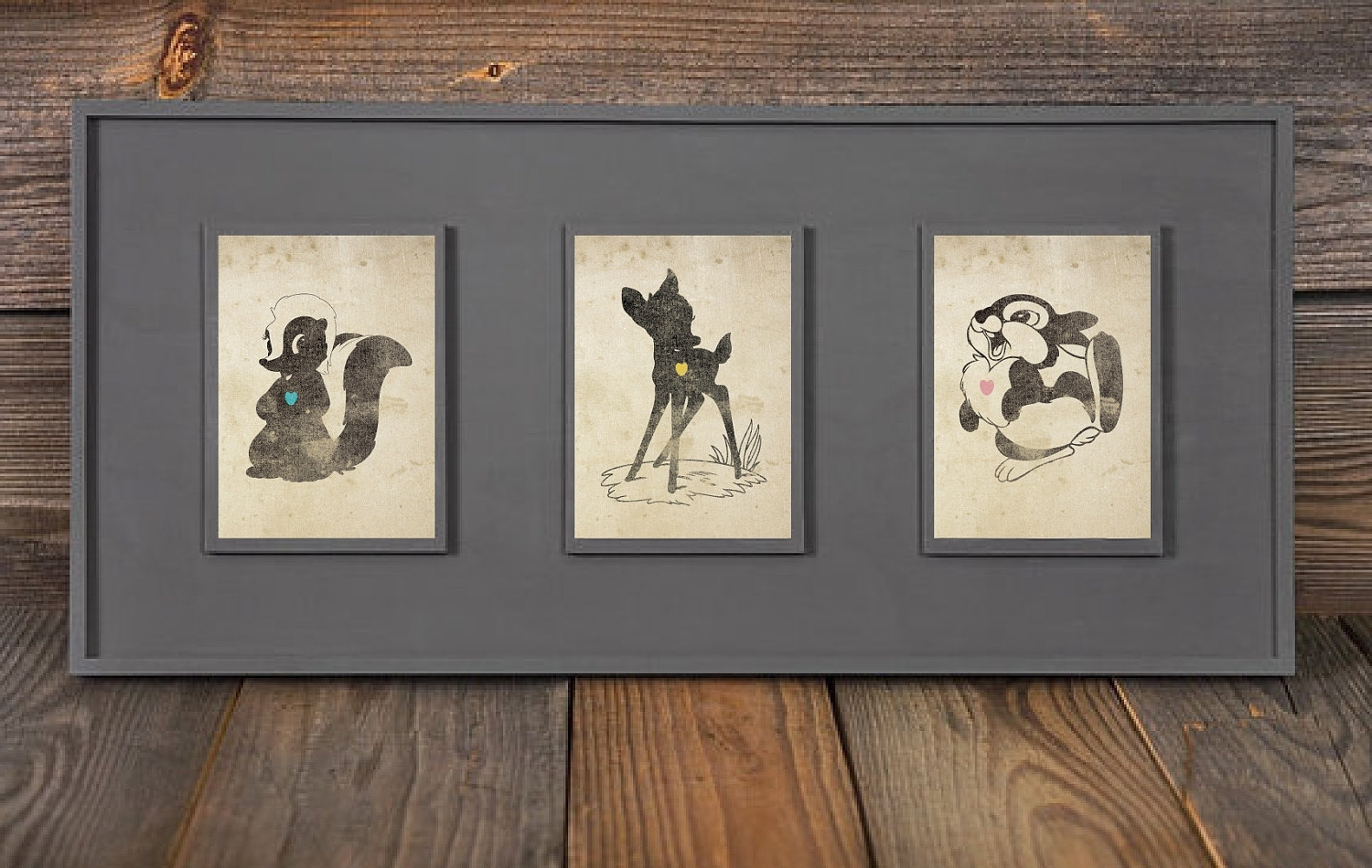 Bambi, Thumper, Flower Inspired Silhouettes: (3) 5X7 Art Prints Within Latest Disney Framed Art Prints (Gallery 1 of 15)