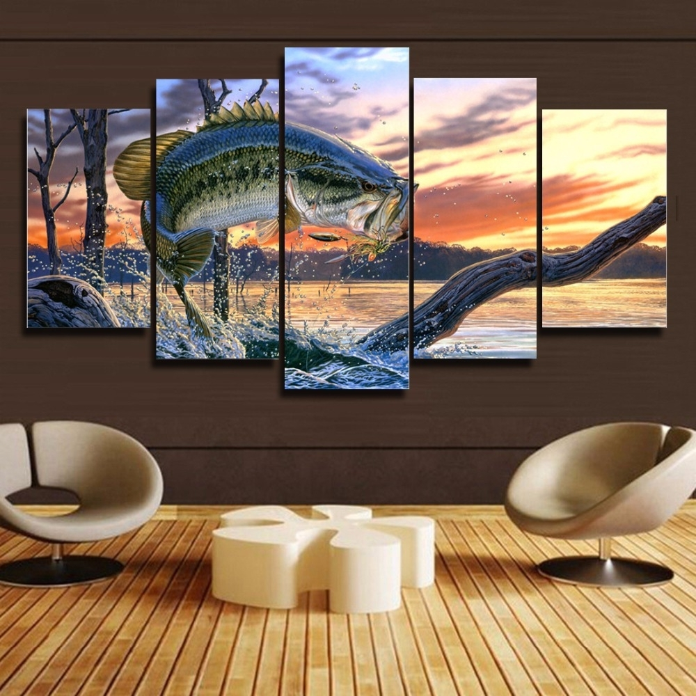 Bass Framed Art Prints In Well Liked Free Shipping 5 Panels Bass Fishing Canvas Painting Home Decor For (View 6 of 15)