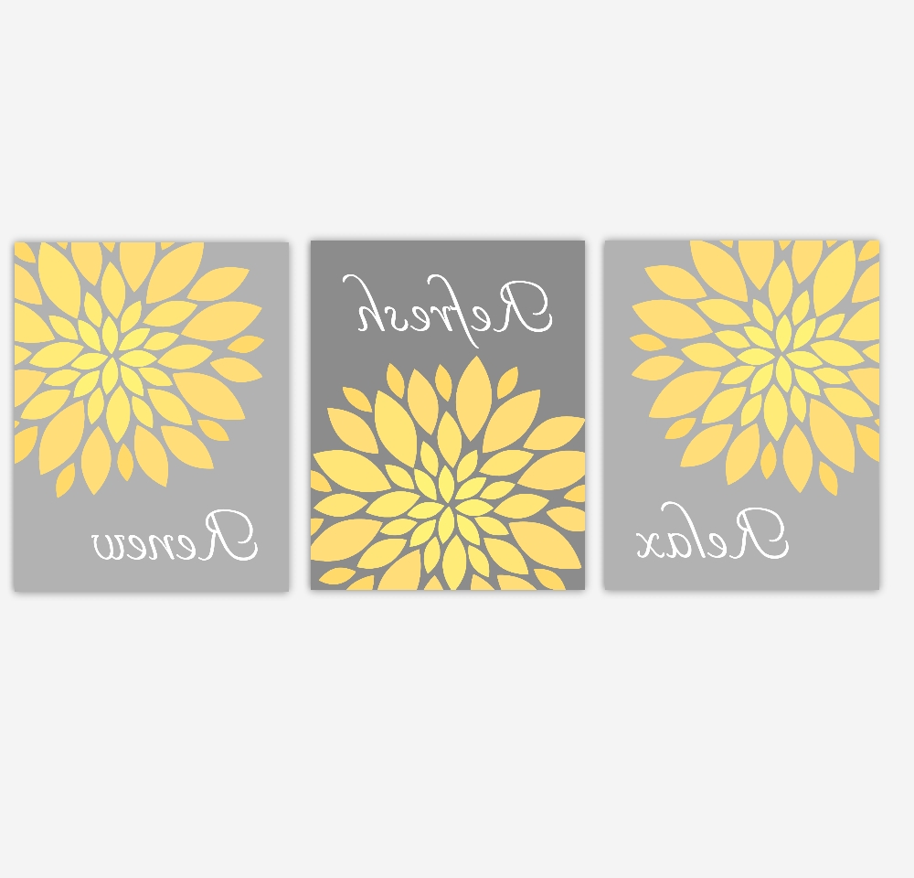 Bathroom Canvas Wall Art Yellow Gray Grey Relax Refresh Renew In Popular Bathroom Canvas Wall Art (View 6 of 15)