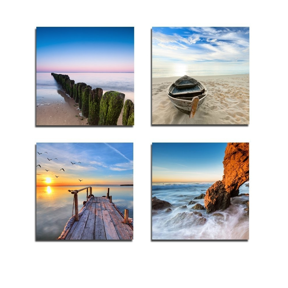 Beach Canvas Wall Art For Most Popular Amazon: Wieco Art – Seaview Modern Seascape Giclee Canvas (Gallery 9 of 15)