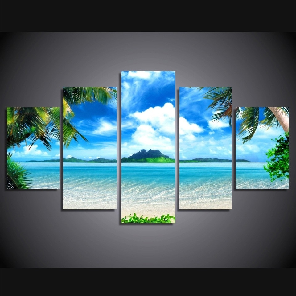 Beach Canvas Wall Art With Most Up To Date 5 Pieces Canvas Prints Beach Blue Palm Trees Painting Wall Art (View 8 of 15)