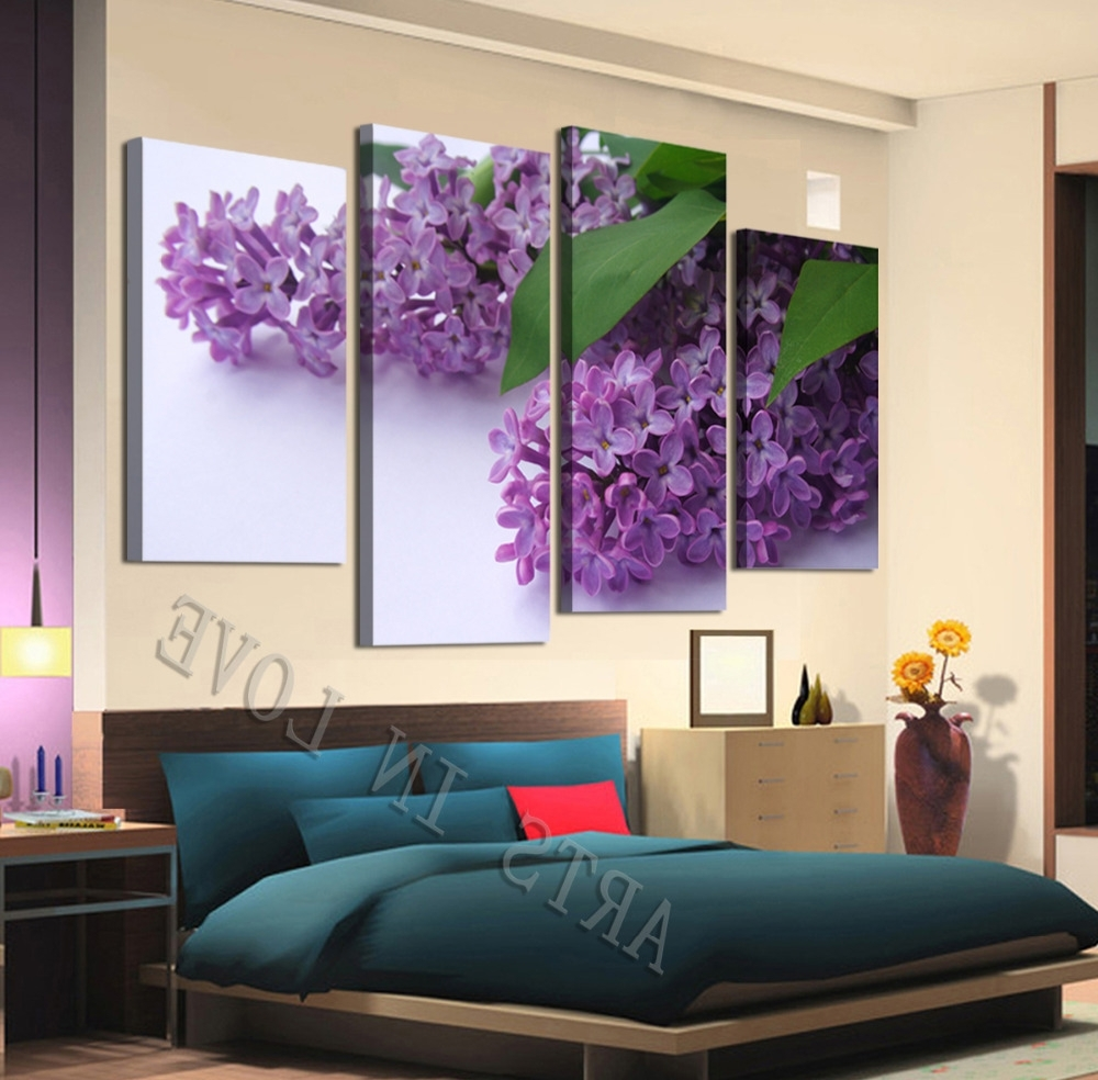 Beautiful Purple Flower Canvas Wall Art For Living Or Bedroom With Favorite Purple Flowers Canvas Wall Art (Gallery 15 of 15)