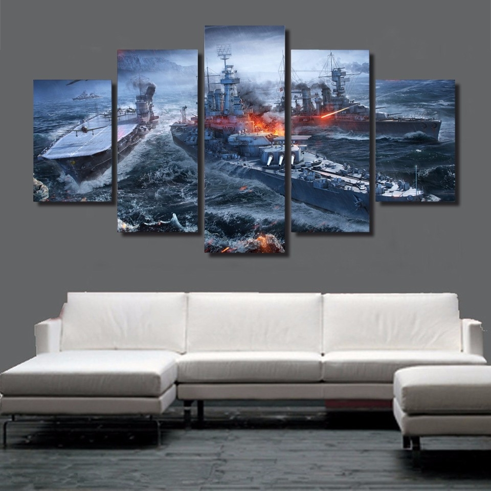Best And Newest 5 Pieces Canvas Prints World Of Warships War Gaming Painting Wall Pertaining To Gaming Canvas Wall Art (View 3 of 15)