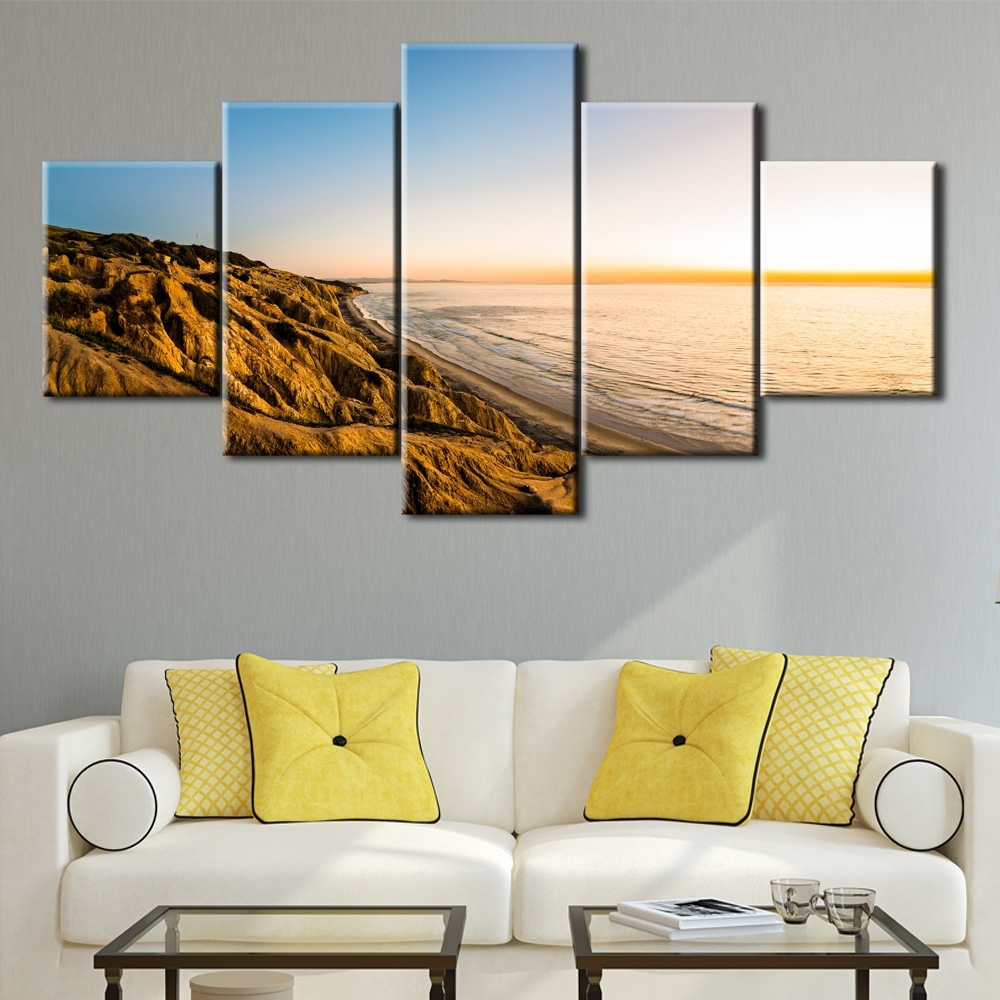 Best And Newest 5Pcs The Gold Coast Printed Canvas Picture Oil Painting On Canvas Within Gold Coast Canvas Wall Art (View 4 of 15)