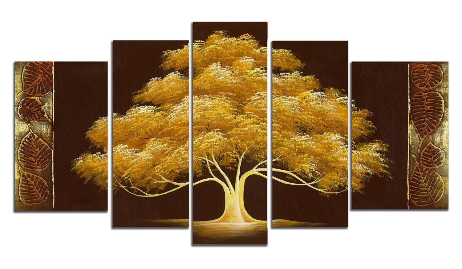 Best And Newest Amazon: Wieco Art – Golden Tree Large 5 Panel Modern Flowers Within House Of Fraser Canvas Wall Art (View 2 of 15)