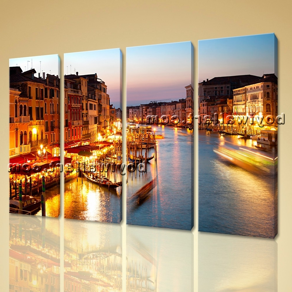 Best And Newest Contemporary Canvas Wall Art Print Painting Italy Venice Night Hd Inside Italy Canvas Wall Art (View 2 of 15)