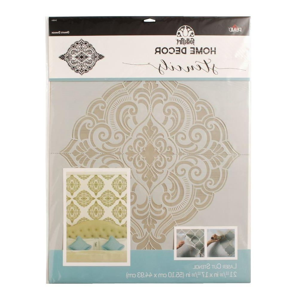 Best And Newest Folkart Home Decor Ornate Damask Wall Stencil (21.5 In. X  (View 3 of 15)